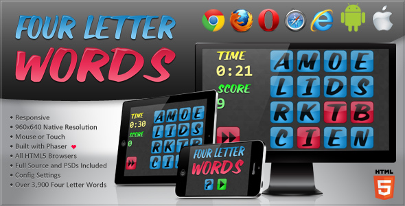 Phaser - News - Four Letter Words: A fully configurable word game.