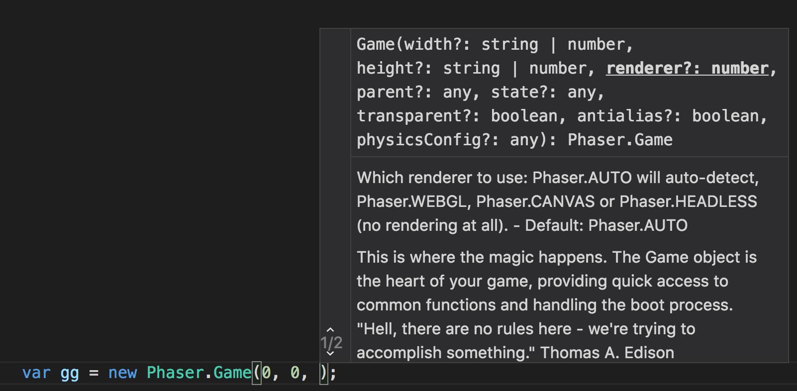 Phaser - News - IntelliSense for Phaser: A short tutorial on